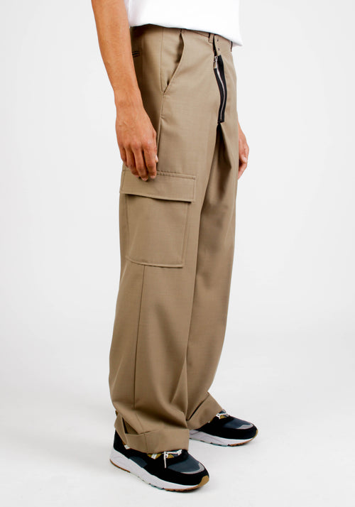 CARGO POCKET ZIPPER WIDE LEGGED WOOL TROUSERS