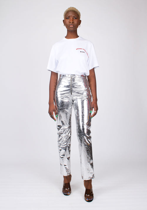 Laminated effect pants