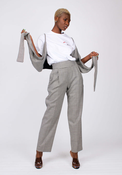 Micro houndstooth high-waisted trousers
