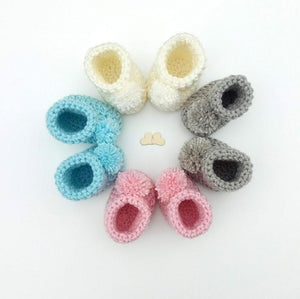 Soft crochet baby and adult bootie and shoes in soft yarns for all year wear