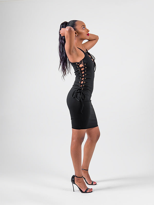 Side LaceUp Dress | Black