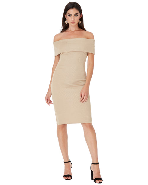 Off Shoulder Bandeau Midi Dress | Nude