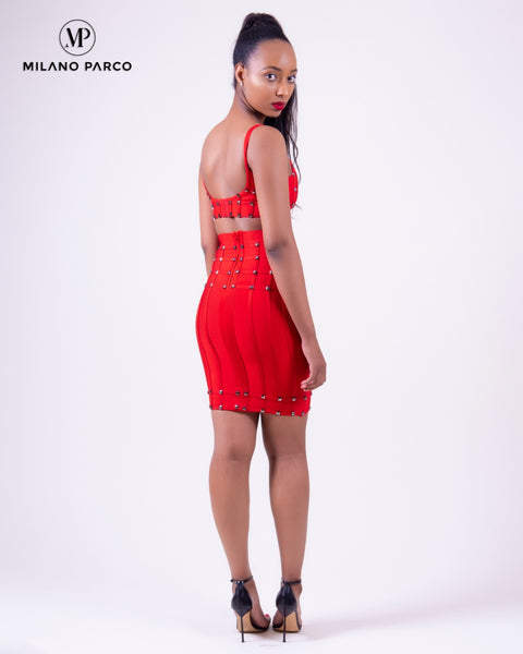 Connie Studded Bandage Set | Red