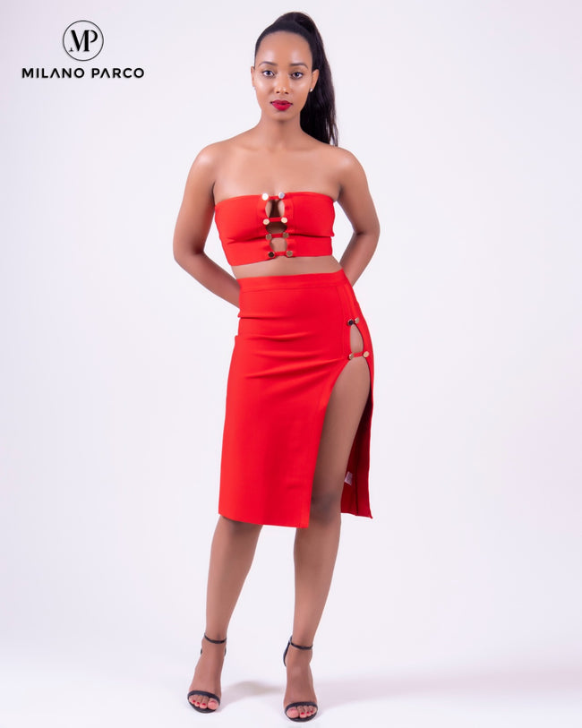 High Side Slit Bandage Set | Red