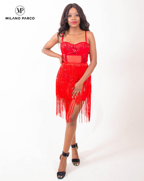 Riley Fringe Dress | Red