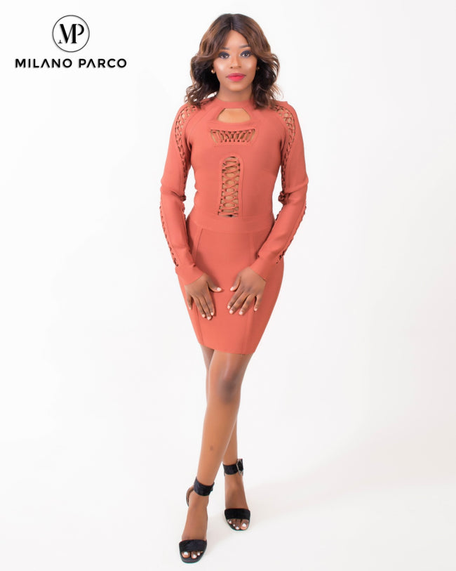 Hug Me Bandage Dress | Tangerine Orange