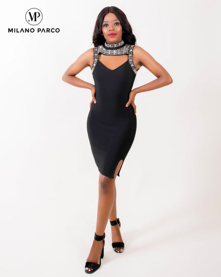 Kami Bandage Dress | Black/Brown