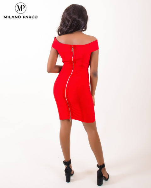 Ms Independent Bandage Dress | Red