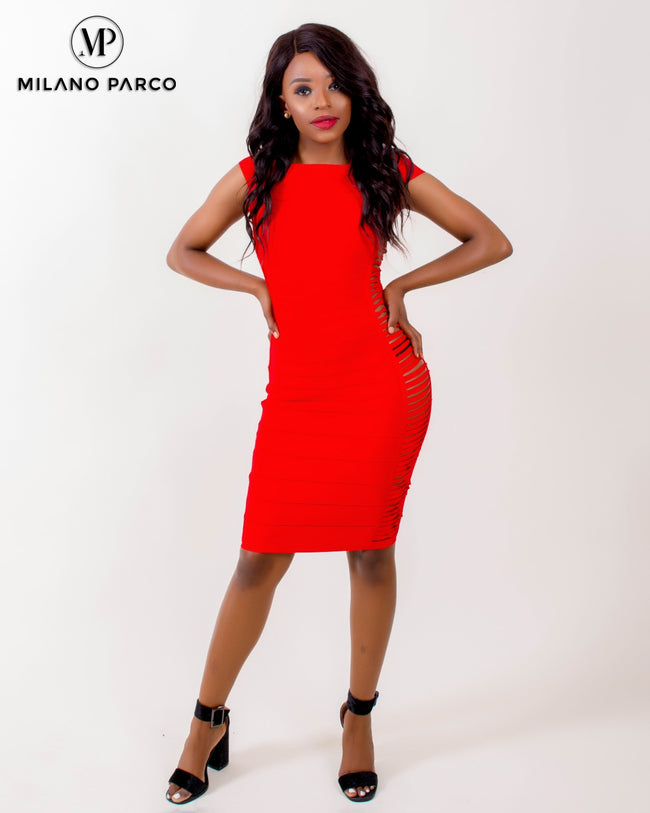 Capsy Bandage Dress | Red