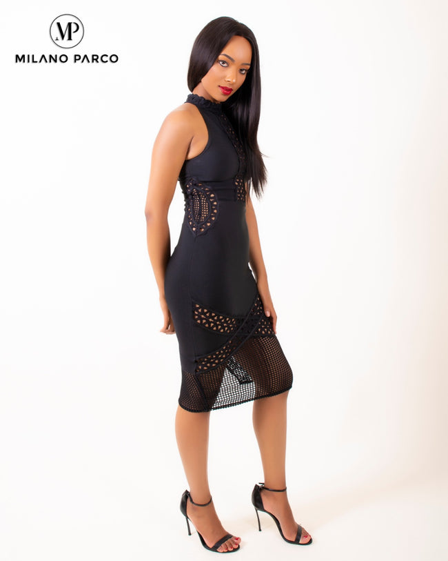 Crochet Sides Bandage Dress | Black
