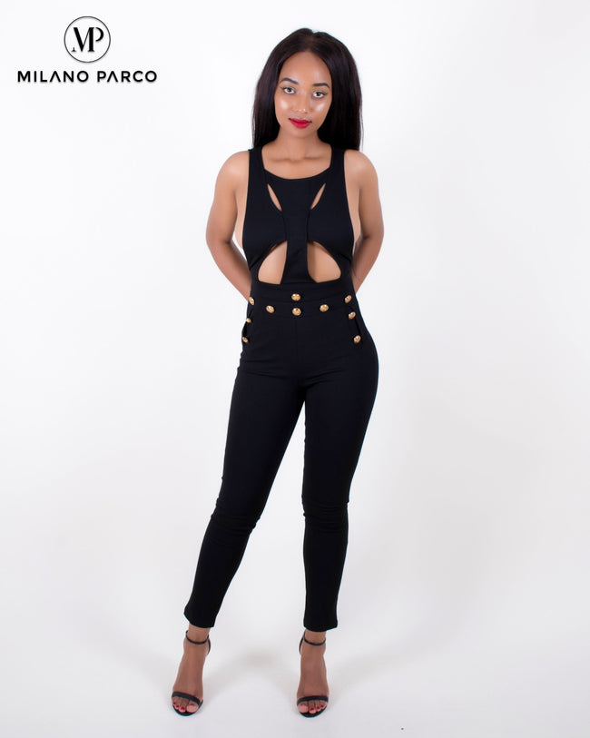 Linda Cut-Out Jumpsuit | Black