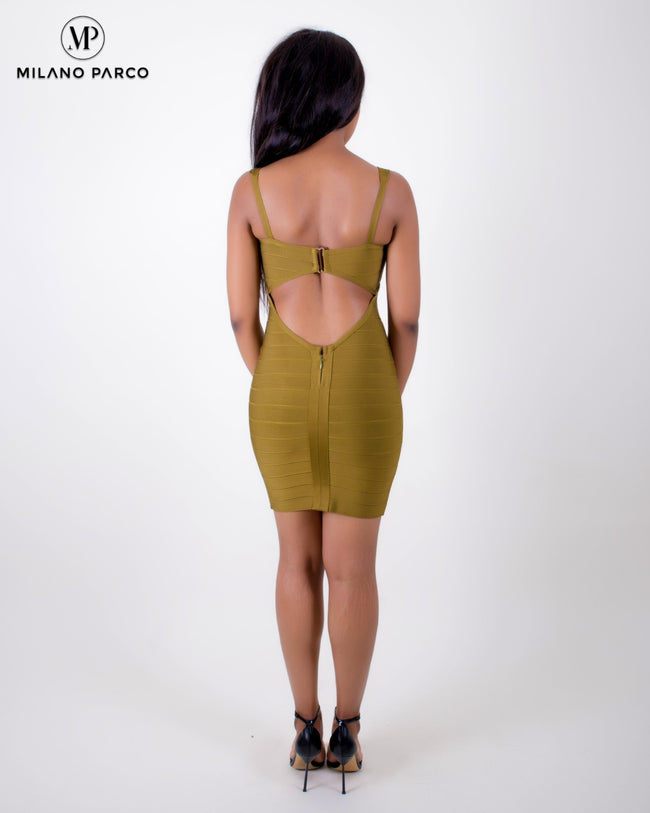 Sexy Back Bandage Dress | Olive