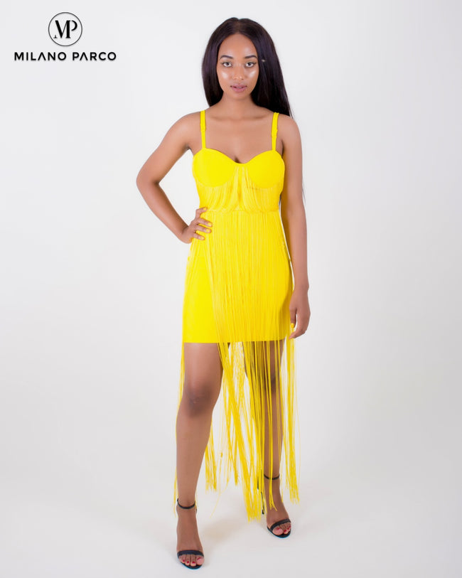Star Struck Bandage Dress | Yellow