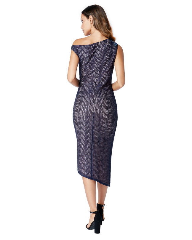 Asymmetric Midi Dress | Navy