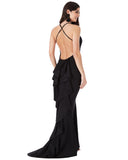 Fishtail Maxi Open Back Dress | Black