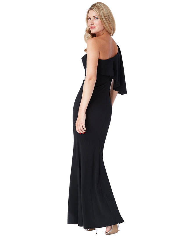 One Shoulder Flair Maxi Dress | Black