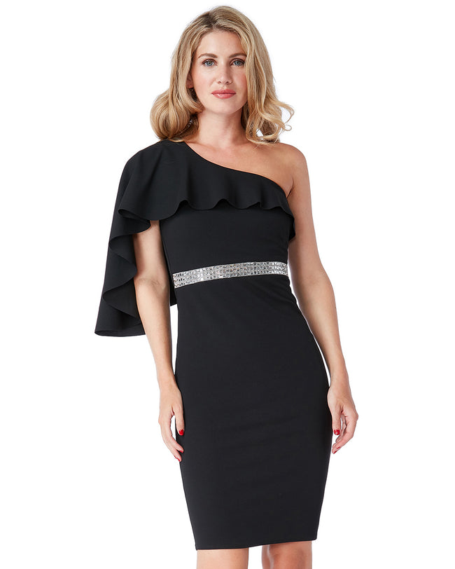 One Shoulder Flair Midi Dress | Black