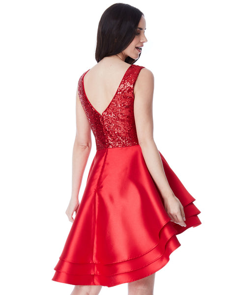 Multilayered Glam Dress | Red