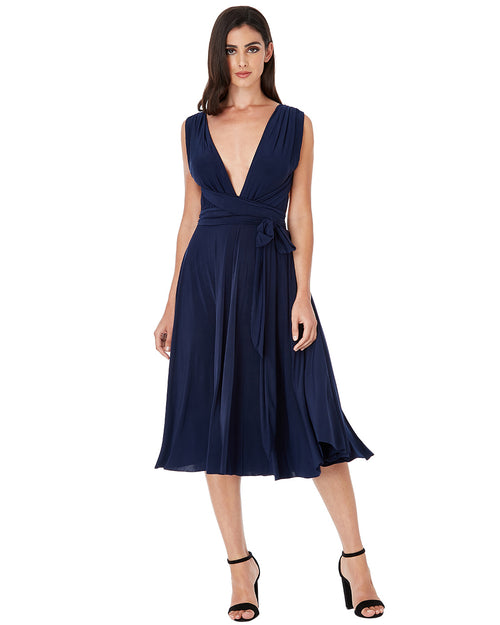 Multiway Open Back Midi Dress | Navy