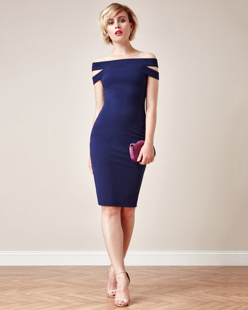 Cut-Out Off Shoulder Dress | Navy