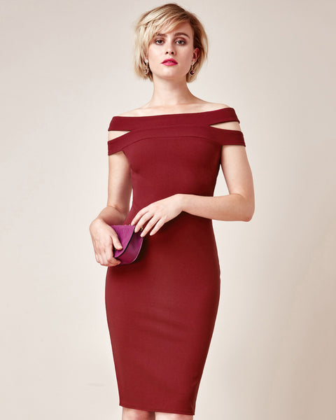Cut-Out Off Shoulder Dress | Wine