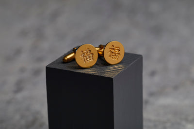 happiness cufflinks in gold with hidden meaning
