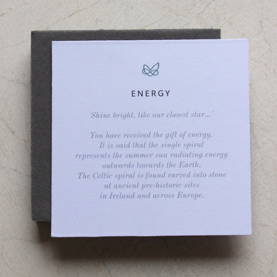 energy meaning card for celtic spiral jewellery by liwu jewellery