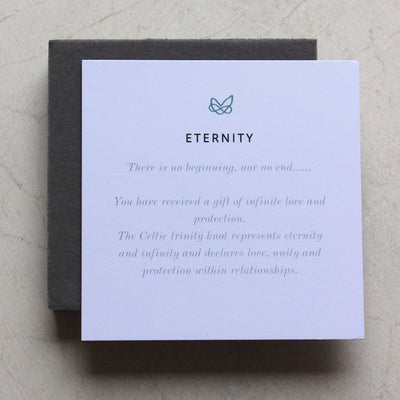 eternity meaning card for celtic knot jewelry by liwu jewellery