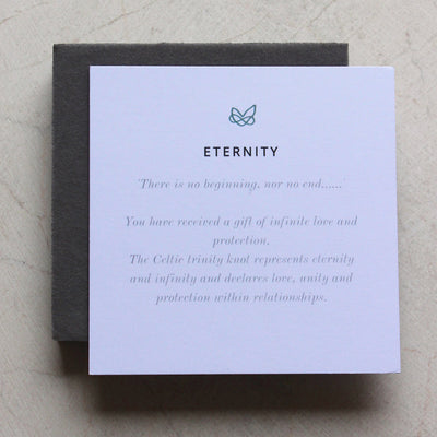 meaning card explaining the meaning behind the celtic trinity knot symbol on native collection