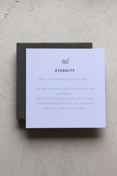 celtic knot meaning card for eternity range by liwu jewellery