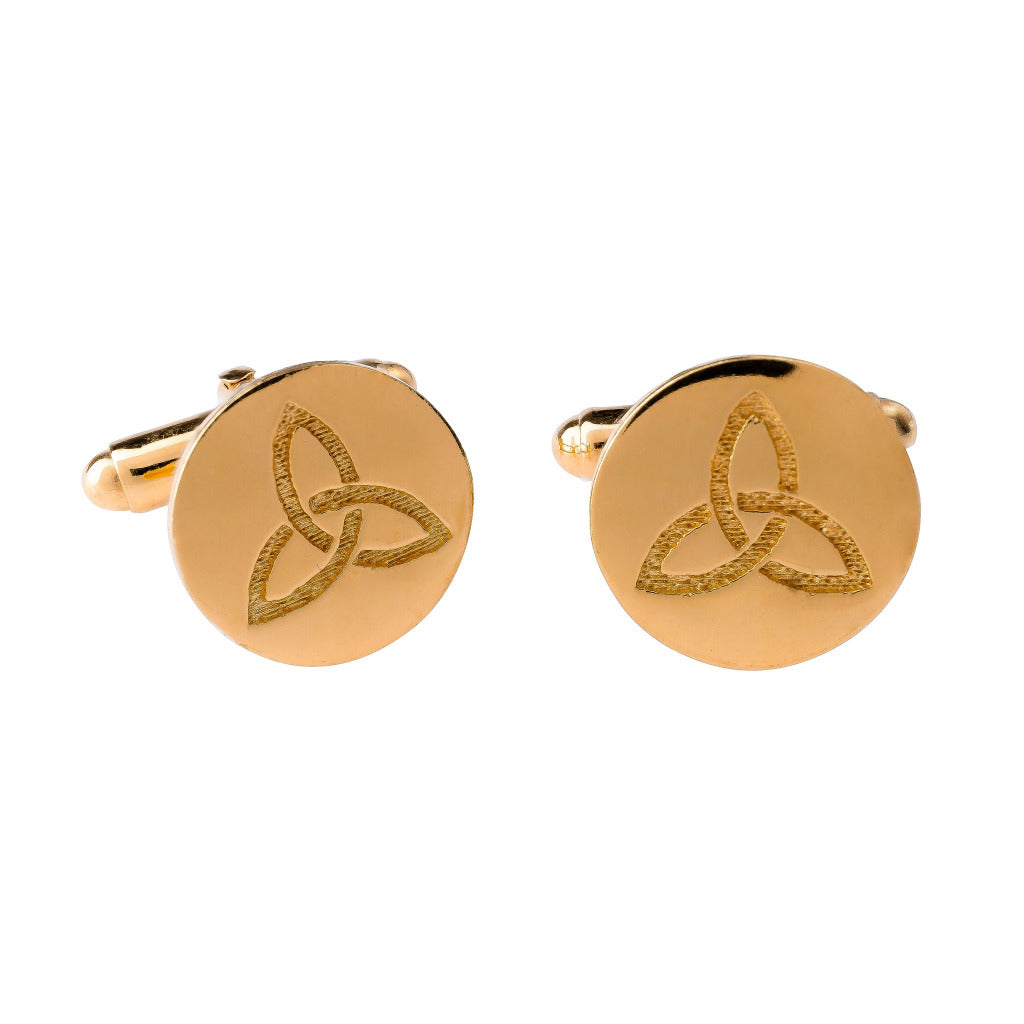 celtic knot round gold cufflinks by liwu jewellery from ireland