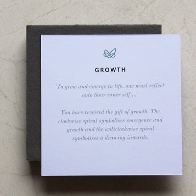growth meaning card for double spiral necklace by liwu jewellery