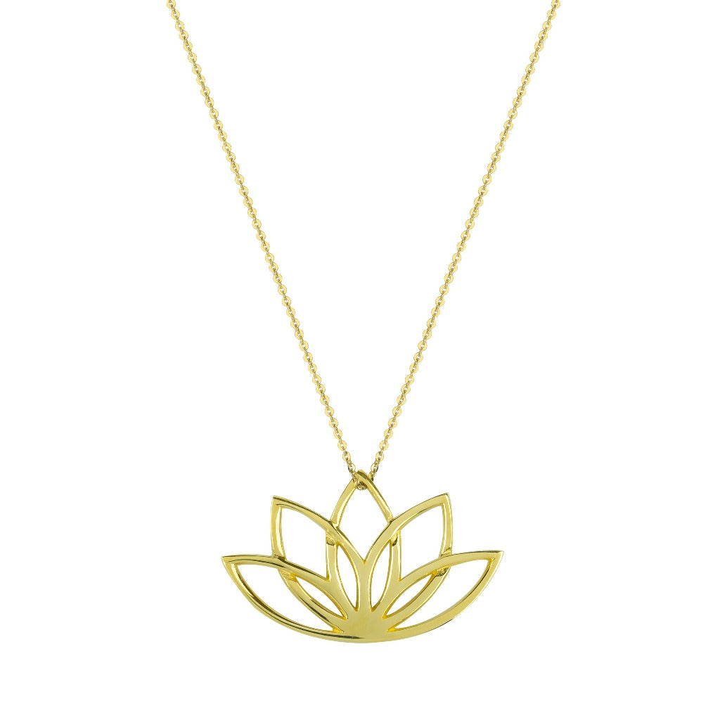 solid gold lotus flower necklace by liwu jewellery