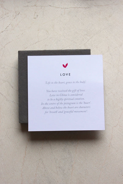 meaning card explaining love character in chinese included with love collection by liwu jewellery