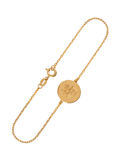 happiness gold bracelet with chinese character for happiness and good fortune