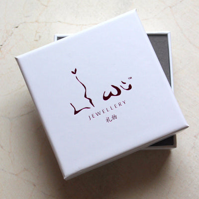 liwu jewellery white box with hot pink embossed foil