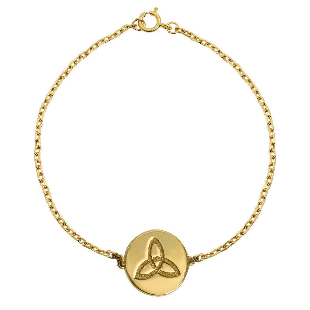 one disc with celtic trinity knot symbol meaning eternity on trace chain
