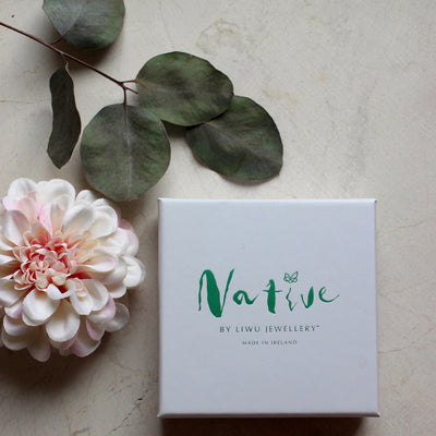 native collection by liwu jewellery white box embossed with green foil