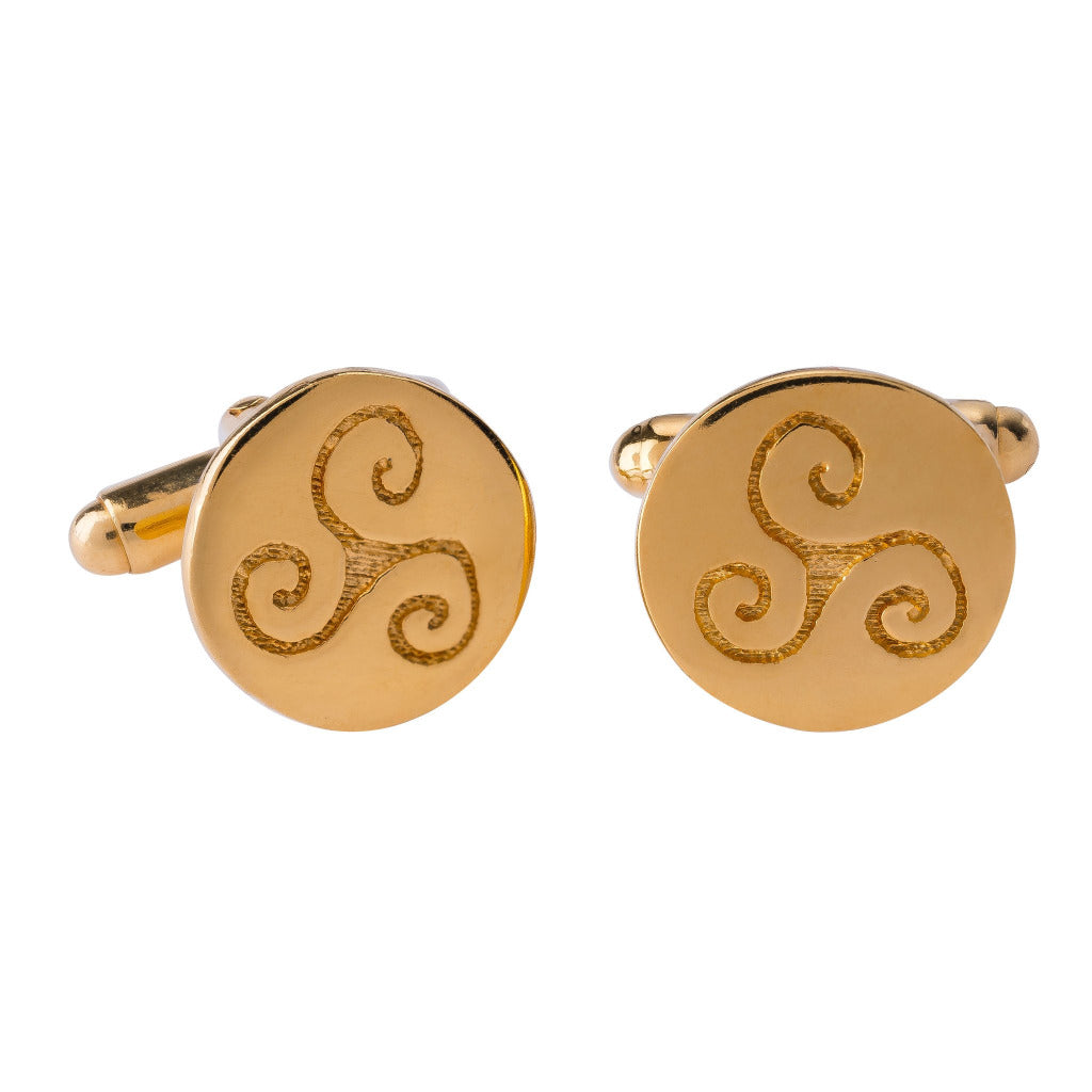PROGRESS GOLD CELTIC CUFFLINKS (Symbolising Progression, Intuition and Creativity)