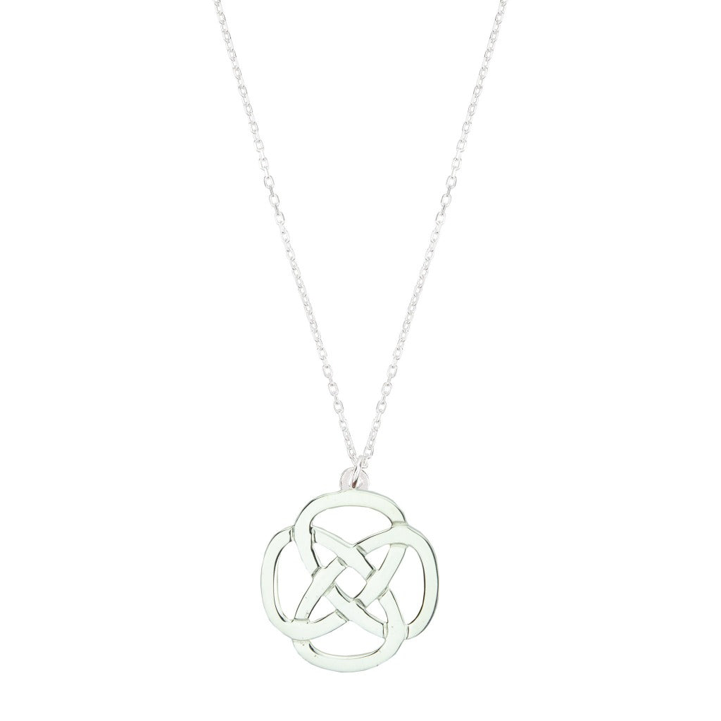 STRENGTH LARGE DARA KNOT SILVER NECKLACE (Symbolising Inner Strength)