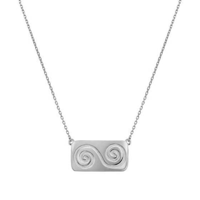 silver necklace with rectangular kerbstone shape with double spiral like what is found in new grange