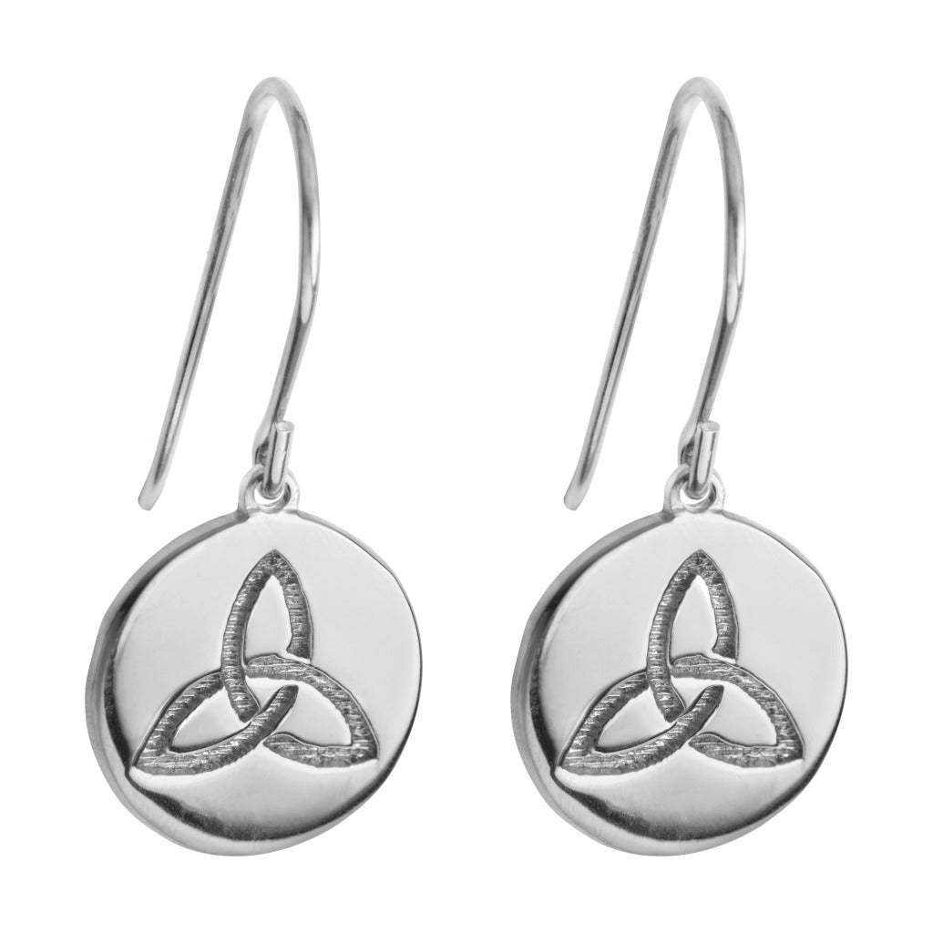 silver drop earrings with celtic knot symbol for celtic love