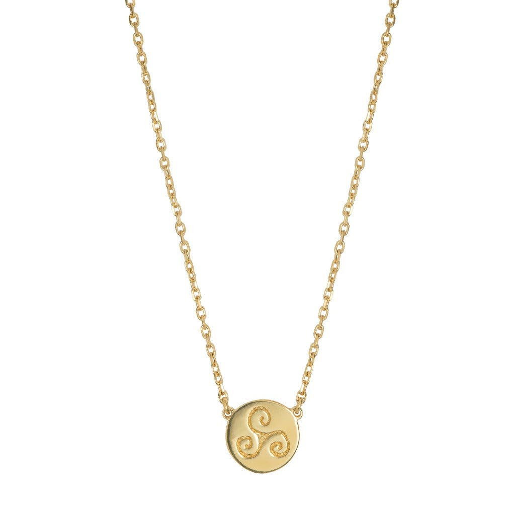 one disc gold necklace with celtic  triskele symbol