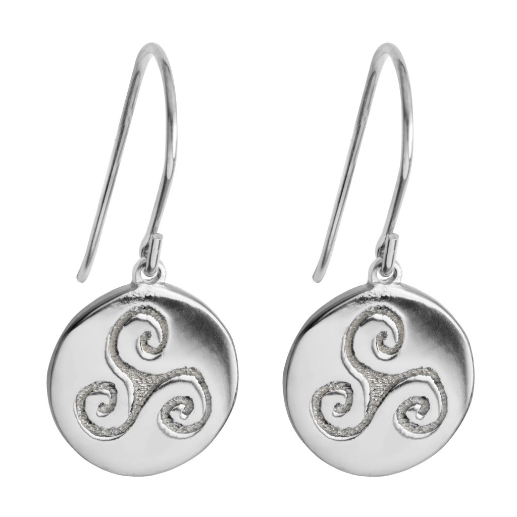 simple silver drop earrings with celtic triskele symbol by Liwu Jewellery