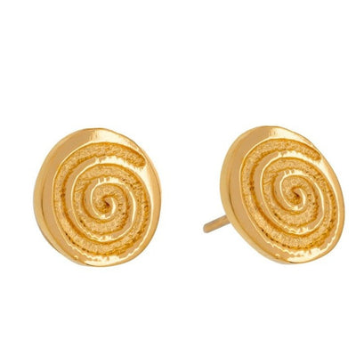 celtic single spiral gold stud earrings