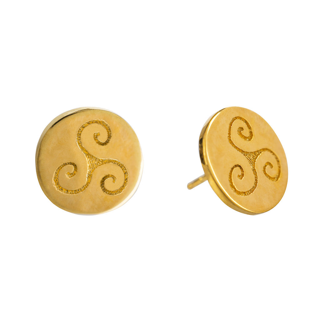 porgress Stud Gold Celtic Earrings