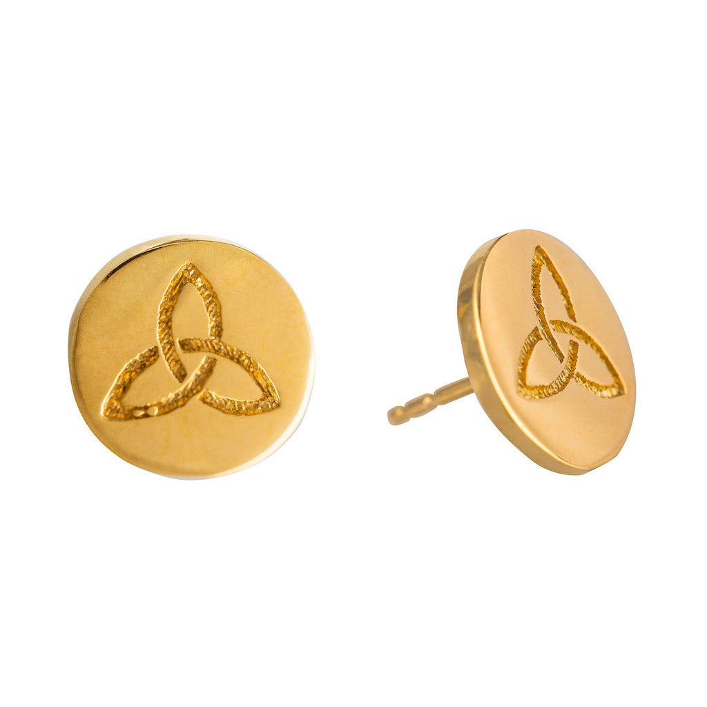 ETERNITY GOLD CELTIC STUD EARRINGS (Symbolising Eternal Love and Protection)