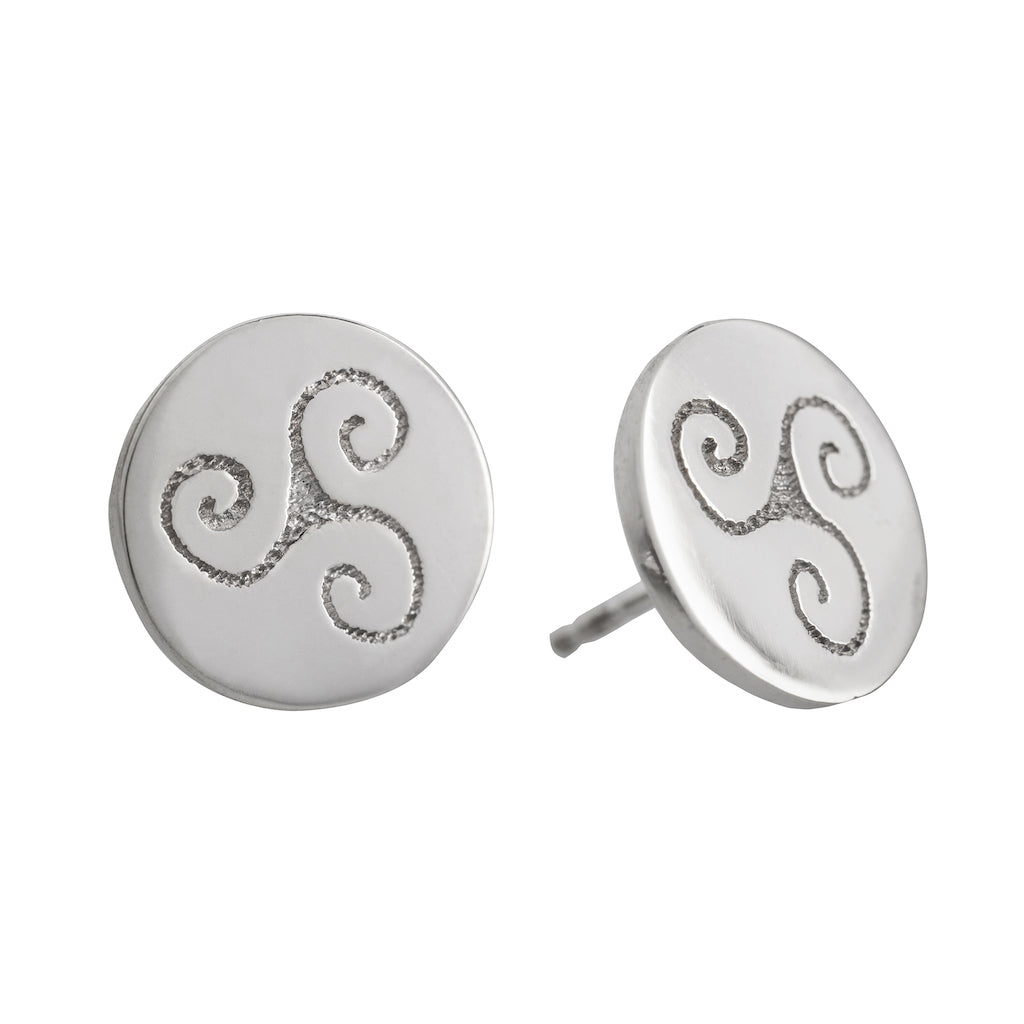 stud silver celtic earrings with celtic spiral triskele symbol meaning progress