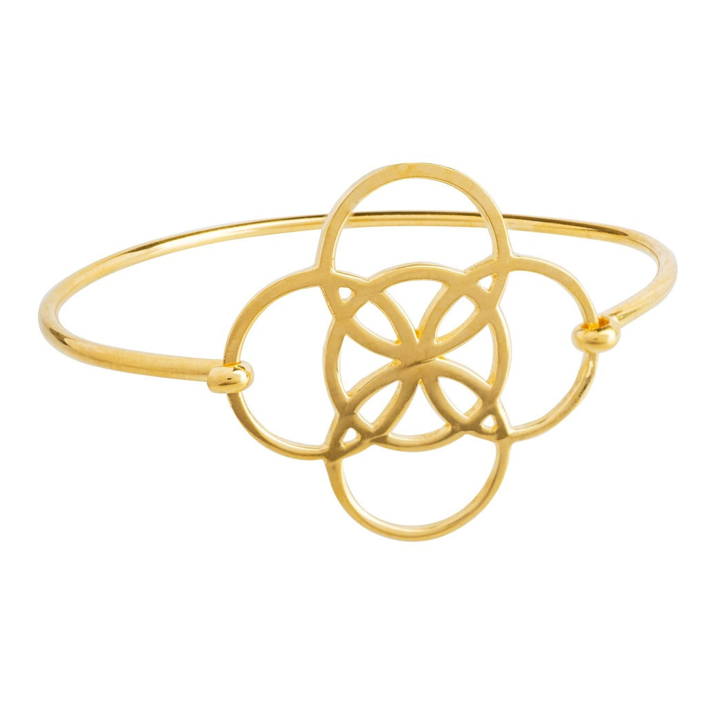 serenity symbol bangle in gold by irish jewelry brand liwu jewellery