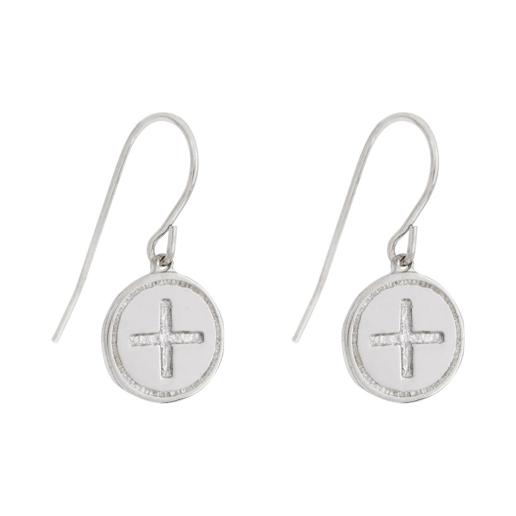 simple drop earrings in silver with wellbeing celtic symbol by irish jewelry brand liwu jewellery